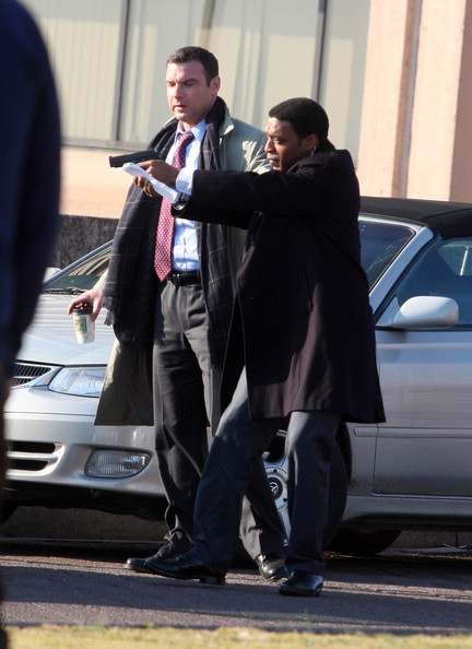 Angelina Jolie, Liev Schreiber and Chiwetel Ejiofor are all seen filming their new movie 'Salt' in Washington, DC. 2